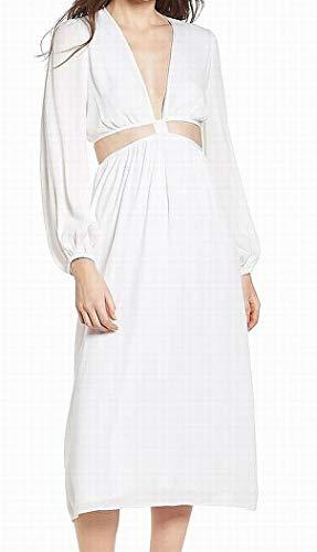 (WAYF Cutout V-Neck Women's Keyhole Shift Dress White XL)