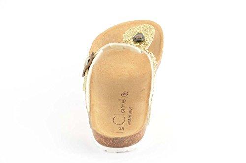 Le Clare - Infradito da donna con suola in sughero - colore oro taglia 35