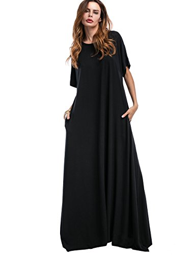 long black maxi dress with short sleeves - 8