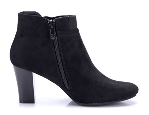 Schuhtempel24 Klassische cm 7 Stiefeletten Damen Schwarz Blockabsatz Schuhe Boots Stiefel AASr6Rf