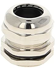 Jutagoss Cable Gland Locknut for 15-22mm Dia Wire Metal Waterproof Adjustable Cable Glands Joints M32x1.5 Silver 1 PCS