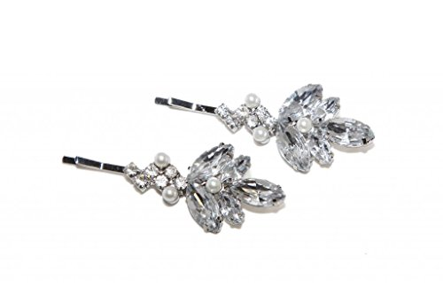 Pave Rhinestone Flower (Lux Accessories Clear Flower Bridal Pave imitation Pearl Hair Clip Bobby Pin. (2 Pc))