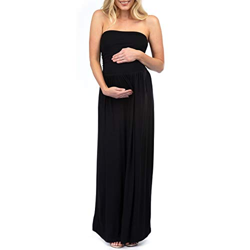 (Womens Strapless Ruched Maternity Dress with Pockets Black)