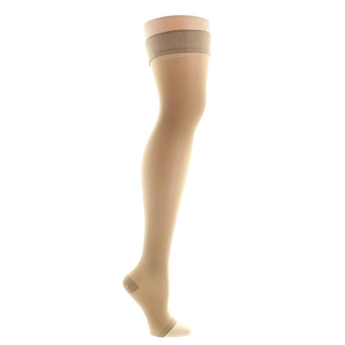 Venosan VenoSheer Open Toe Thigh Highs w/ Silicone Dot Band - 30-40 mmHg Silky Nude Large 6301204