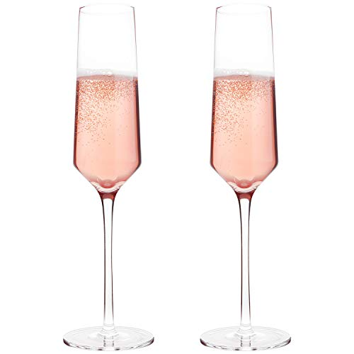 Classy Champagne Flutes by Bella Vino - Hand Blown Crystal Champagne Glasses Made from 100% Lead Free Premium Crystal Glass, Perfect for Any Occasion,Great Gift, 10