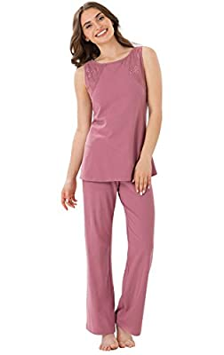 PajamaGram Women's Touch of Lace Sleeveless Pajamas with Tank Top and Pants