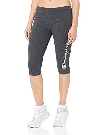 Champion Women's Essential Knee Capri Leggings, Granite Heather, 10