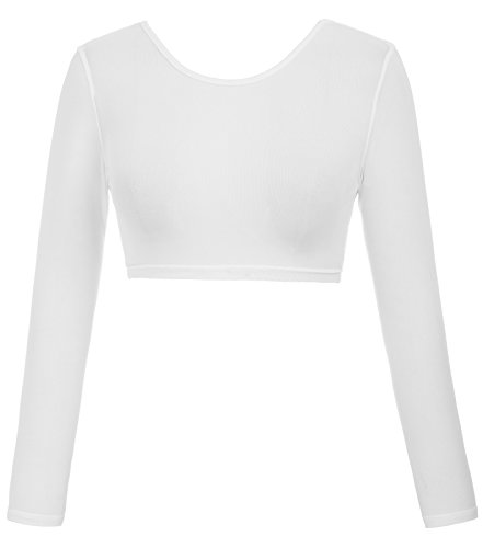 (Kate Kasin Sexy See Through Sheer Mesh Long Sleeve Crop Top (S,0899#White) )