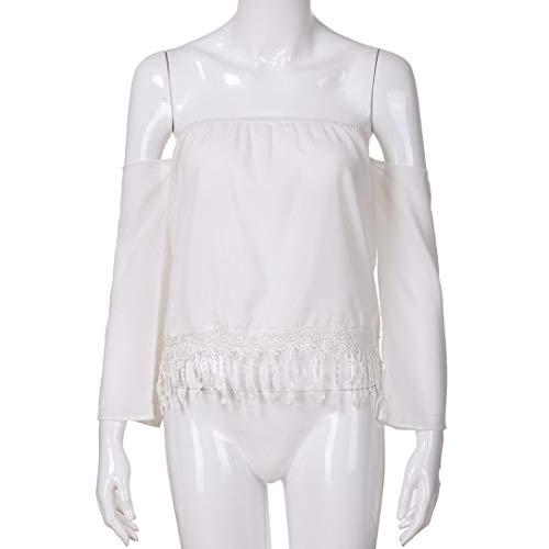 Chemise Manches Femme Pullover Shirt Shirts Mousseline Longues T Solike Chic Ete Tissu Bandeau Ouverte Bretelle sans de Blanc Blouse Gland Tops Plage de paule TUIwE