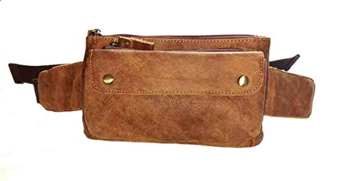 HUAMEIBANG Genuine Leather Waist Packs Fanny Pack for Men WomenTravel Running Hiking Cycling (Yellowish Brown)