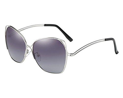 VeBrellen Classic Oversized Frame Polarized Women Butterfly Shaped Sunglasses (Silver Frame Gray Lens, - Shaped Glasses Butterfly