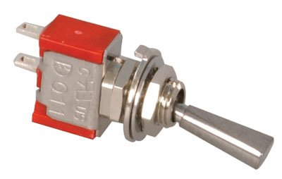 Jameco Valuepro 1MS9T6B11M1QE Toggle Switch, Single Pole, Single Throw, Solder Lug, 5 Amp 250 Volt AC, Panel Mount, 0.50