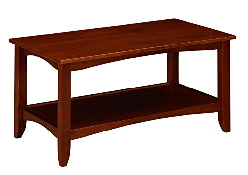Table Cherry Traditional Coffee - Ravenna Home Dora Classic Shelf Storage Wood Coffee Table, 37