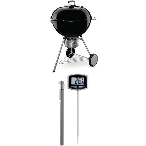 Weber 16401001 Original Kettle Premium Charcoal Grill, 26-Inch, Black and Thermometer Bundle