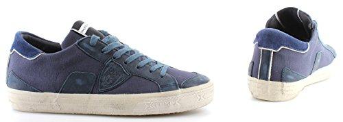 Scarpe Da Uomo Modello Philippe Sneakers Paris Bercy In Tela Bluette Made Italy New