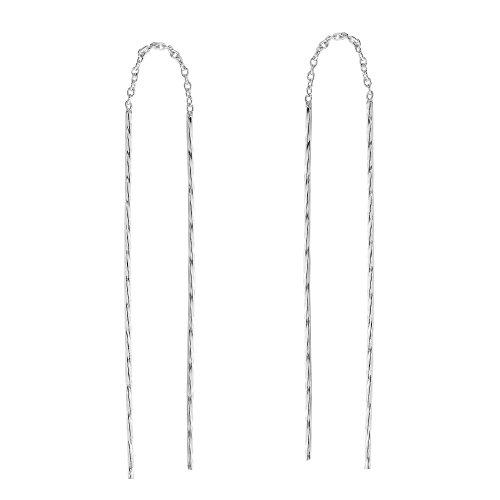 - Twisted Stick Ear Thread Slide Through Sterling Silver Earrings