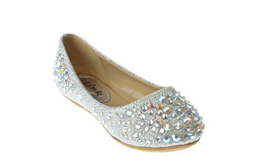 Link Larisa-39K Rubber Sole Ballet Flats for Girls Kids, Silver, 1