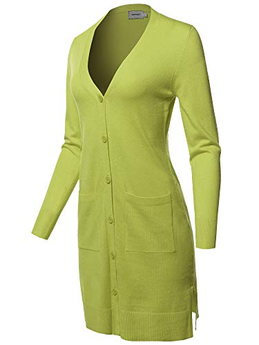 Casual Button Up Long-Line Sweater Viscose Knit Cardigan Lime L