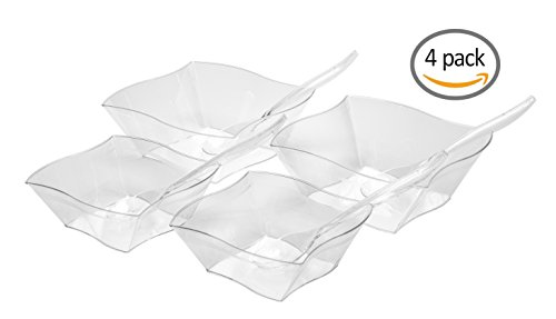 Set Of Four Square Wavy Plastic Clear Serving Bowls With Serving Spoons – Two Large (90 oz) and Two Medium (45 oz) Bowls – Perfect For Your Party or Event – and Durable Hard Plastic Disposable Serving Bowls