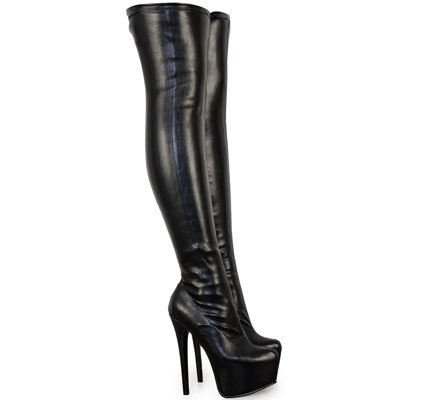 Fashion Thirsty Womens Mens Unisex Over Knee Thigh High Heel Stretch Faux Leather Suede Boots Shoes Size (US 11, Black Stretch Faux Leather)]()