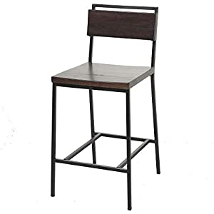 Leggett & Platt Olympia Counter Stool with Black Matte Finished Metal Frame, Footrest and Black Cherry Colored Wood, 26…