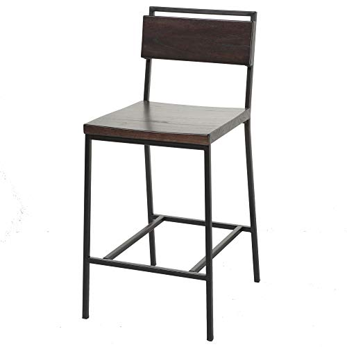 Fashion Bed Group Olympia Counter Stool with Black Matte Finished Metal Frame, Footrest and Black Cherry Colored Wood, 26-Inch Seat Height ()