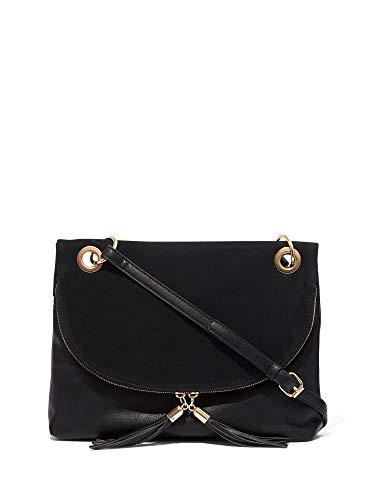 New York & Co. Women's Tassel-Accent Grommet Crossbody Bag 0 Black ()