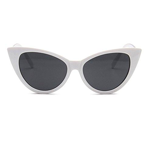 LINNUO Blanco Eyewear Gafas Unisex Sol Gato Ojo Clásico de de Retro Sunglasses Hombres Mujer rO1rzq