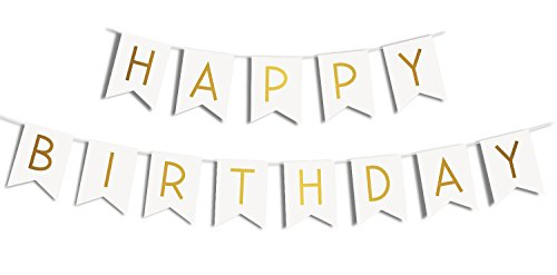 annabelles gold foiled happy birthday letters and white background bunting banner with two 8 inch long strands buy online in kuwait