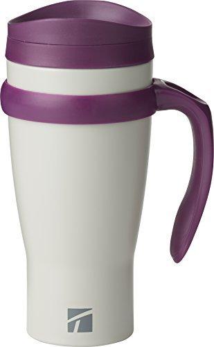 Trudeau Maison Drive Time 18 ounce Stainless Steel Travel Mug - Grey/Purple (Mug Steel Stainless Trudeau)