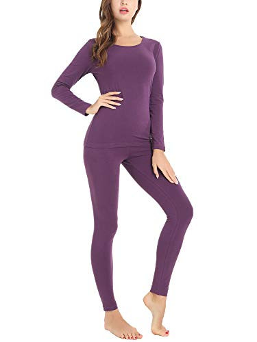 Amorbella Women's Thermal Set Insulated Underwear Microfiber Fleece Lined Winter Base Layer (Purple, - Thermal Purple