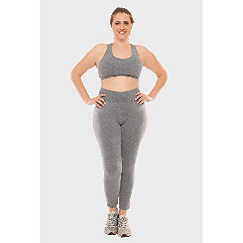 Calça Legging Plus Size Lisa Fitness Cinza-0052