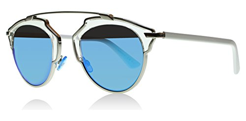 Dior So Real - I187R Sunglasses Silver Blue Mirrored Lenses 48mm