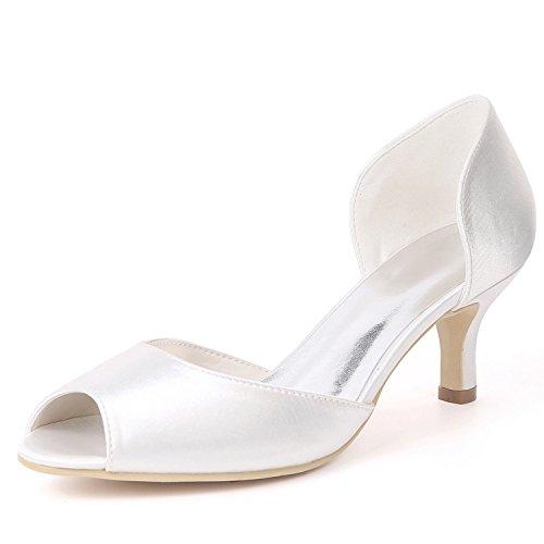 L High Side Femmes YC White Toe d'honneur Amande Air Mariage Round Platform Demoiselle Heels Court Chaussures De 1B1rwq