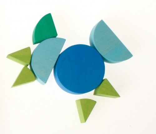 Grimm's Wooden Fraction Circles in Blue (Cool Colors)