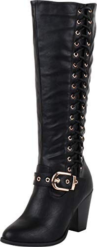 - Cambridge Select Women's Corset Side Lace Strappy Buckle Chunky Stacked Heel Mid-Calf Boot,9 B(M) US,Black PU