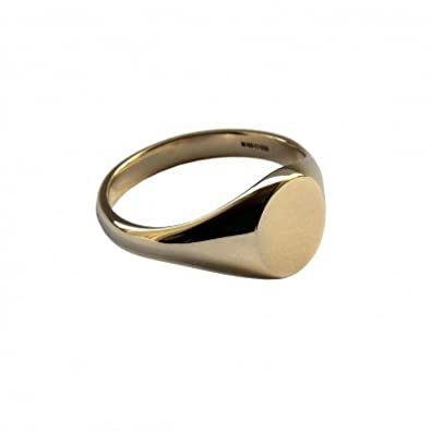 00470c1b95e4a 9ct Yellow Gold 9.6 x 7.1mm Plain Small Oval Signet Rings UK Hallmarked  Approx 3.4g