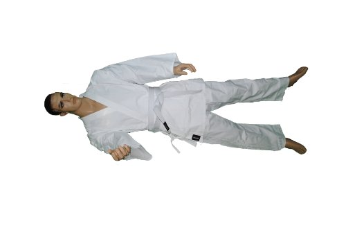 (KARATE Martial Arts Uniform/gi,100%Cotton,8-oz White Color with Free White Belt. (5/180))