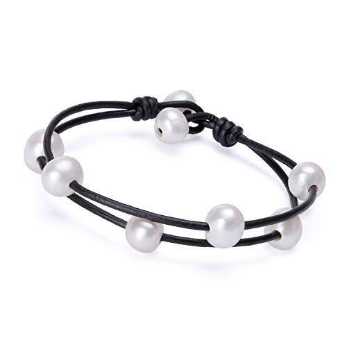- Cultured Freshwater Pearl Bracelet White Beads on Black Genuine Leather Cord Strand Handmade Adjustable Cuff Jewelry for Women Fashion Charm Bracelet for Valentine's Day