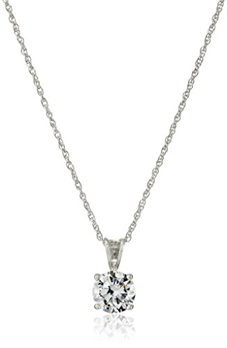 Platinum Plated Sterling Silver Round Cut 8mm Cubic Zirconia Pendant Necklace, (Sterling Silver Cubic Zirconia Necklace)