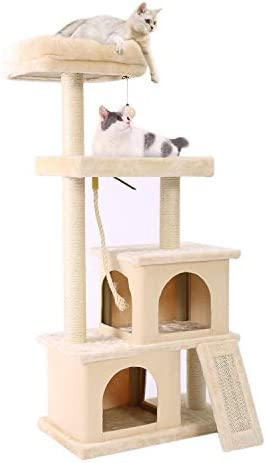PAWZ Road Cat Tree Multilevel and Luxury Cat Towers 50 Inches with 2 Condos, Spacious Perches, Scratching Post, Dangling Balls and Ramp