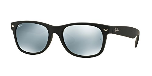 Ray Ban RB2132 NEW WAYFARER 622/30 55M Rubber Black/Green Mirror Silver Sunglasses For Men For Women