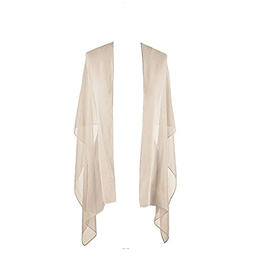 SlenyuBridal Women's Long Chiffon Shawl Scarf Accessory for Prom Evening Dress Beach Wrap Cream Free Size