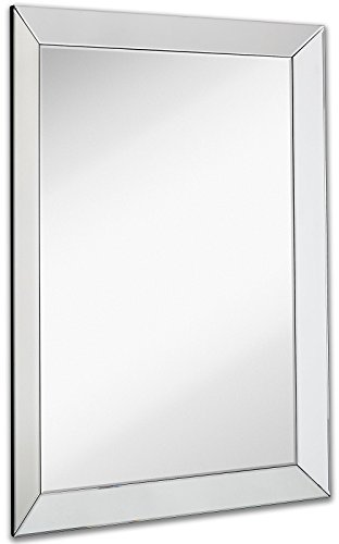 Large framed wall mirror with 3 inch angled beveled mirror frame premium silver for Silver framed bathroom mirrors