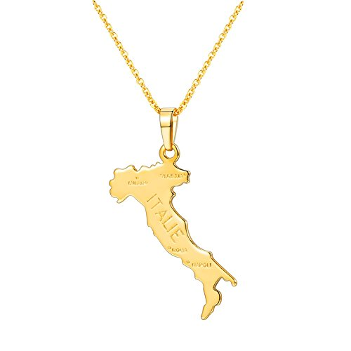 - U7 Nation Map Pendant Patriotism Jewelry 18K Gold Plated Necklace Pendant with Adjustable Rolo Chain (Italy)