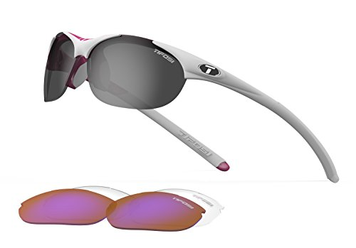 Tifosi Womens Wisp 0040103101 Wrap Sunglasses,Race Pink Frame/Grey, Red & Clear Lens,One Size ()