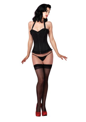 Leg Avenue Women's Natalie Halter Corset with Zipper Front, Black, - Leg Avenue Bustier
