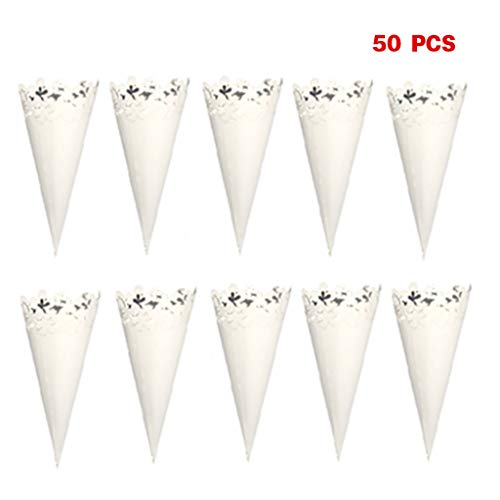 (liumiKK 50pcs Laser Cut Petal Lace Laying Candy Wedding Party Favors Confetti Cones Paper Cone Decoration Supplies)