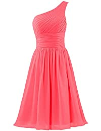 ac42af9c14d Women s Chiffon One Shoulder Bridesmaid Dresses Short Evening Dress