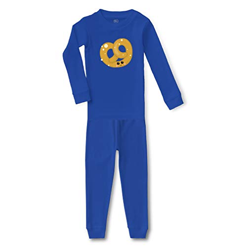 Pretzel Cotton Crewneck Boys-Girls Infant Long Sleeve Sleepwear Pajama 2 Pcs Set Top and Pant - Royal Blue, 4T